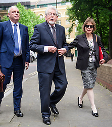 © Licensed to London News Pictures. 22/05/2017. London, UK.  Entertainer ROLF HARRIS arrives at Southwark Crown Court in London with his niece JENNY HARRIS (right). Harris, who was jailed on twelve counts of indecent assault on four female victims in 2012, is now standing trial accused of further indecent assaults. Photo credit: Ben Cawthra/LNP