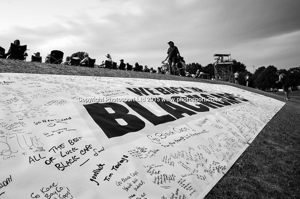 Supporters signage in the first ODI, Black Caps v Sri Lanka, at Hagley Oval, Christchurch, 11 January 2015. Photo:John Davidson/www.photosport.co.nz