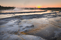 Great Fountain Geyser at sunset, Yellowstone National Park