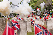 Civil War re-enactors fire a canon salute during Confederate Memorial Day events at Magnolia Cemetery April 10, 2014 in Charleston, SC. Confederate Memorial Day honors the approximately 258,000 Confederate soldiers that died in the American Civil War.