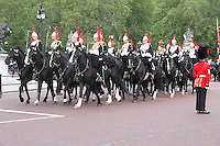 LONDON - JUNE 16: The Blues and Royals; The Household Cavalry Mounted Regiment attends Trooping The Colour, Buckingham Palace, London, UK. June 16, 2012. (photo by piQtured)