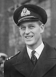 The Duke of Edinburgh at Northolt Aerodrome as he bid farewell to the Viscount and Viscountess Mountbatten who will travel by air en route to India.