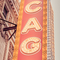 Chicago Theatre sign vertical panorama picture. Panorama picture ratio is 1:3 and has a  retro vintage tone. The Chicago Theatre was built in 1921 on State Street in downtown Chicago. The theater is a very popular Chicago attraction and now serves as a venue for concerts, plays, and other live performances.