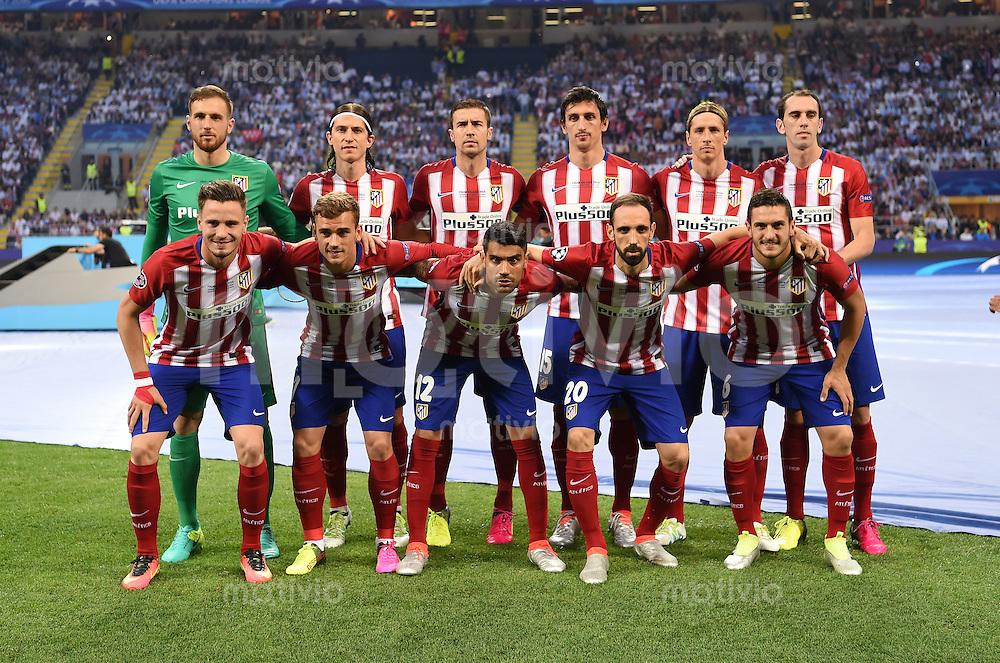 FUSSBALL  CHAMPIONS LEAGUE  FINALE  SAISON 2015/2016   Real Madrid - Atletico Madrid                   28.05.2016 Teamfoto Atletico Madrid