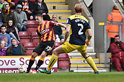 Bradford City Defender, Anthony McMahon (29) and Oxford United Defender, Christian Ribeiro (2) during the EFL Sky Bet League 1 match between Bradford City and Oxford United at the Coral Windows Stadium, Bradford, England on 14 April 2017. Photo by Mark Pollitt.