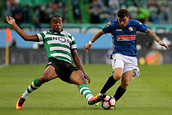 March 18, 2017 - Lisbon, Lisbon, Portugal - Sportings defender Marvin Zeegelaar from Holland (L) and Nacionals forward Salvador Agra from Portugal (R) during Premier League 2016/17 match between Sporting CP and CD Nacional, at Alvalade Stadium in Lisbon on March 18, 2016. (Credit Image: © Dpi/NurPhoto via ZUMA Press)