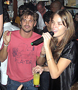 **EXCLUSIVE**.Brazilian Super Model Letícia Birkheuer with Brazilian Actor/Singer Dado Dolabella.Unik's Karaoke Sunday Party.New York, NY, USA .Sunday, April, 29, 2007.Photo By Celebrityvibe.To license this image call (212) 410 5354 or;.Email: celebrityvibe@gmail.com; .