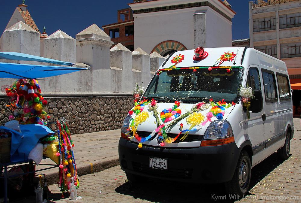 South America, Bolivia, Copacabana. Benedicion de Movildades in front of Basilica of Our Lady of Copacabana.