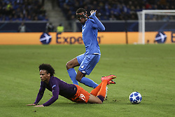 October 2, 2018 - Sinsheim, Germany - Kevin Akpoguma 25; Leroy Sane 19; during the UEFA Champions League group F football match between TSG 1899 Hoffenheim and Manchester City at the Rhein-Neckar-Arena in Sinsheim, southwestern Germany, on October 2, 2018. (Credit Image: © Elyxandro Cegarra/NurPhoto/ZUMA Press)