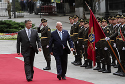 September 27, 2016 - Kiev, Ukraine - President of Ukraine Petro Poroshenko (L) walks with the President of Israel Reuven Rivlin (R) past a soldiers of The Honor Guard during the first state visit Israely President to Ukraine, September 27, 2016. President of Israel Reuven Rivlin visits Ukraine for the first state visit. (Credit Image: © Sergii Kharchenko/NurPhoto via ZUMA Press)