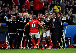 Ashley Williams of Wales celebrates his goal with the Wales bench and team mates  - Mandatory by-line: Joe Meredith/JMP - 01/07/2016 - FOOTBALL - Stade Pierre Mauroy - Lille, France - Wales v Belgium - UEFA European Championship quarter final