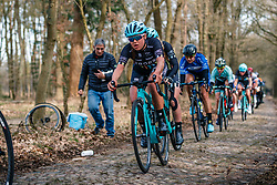 Rider of DROPS (GBR) on the cobblestones of Schaapstreek during the UCI Women's WorldTour Ronde van Drenthe at Odoorn, Drenthe, The Netherlands, 11 March 2017. Photo by Pim Nijland / PelotonPhotos.com | All photos usage must carry mandatory copyright credit (Peloton Photos | Pim Nijland)