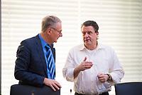 DEU, Deutschland, Germany, Berlin, 15.01.2018: Dr. Roland Hartwig (MdB, Alternative für Deutschland, AfD) und Stephan Brandner (MdB, AfD) vor Beginn der Fraktionssitzung der AfD-Fraktion im Deutschen Bundestag.