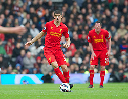12.05.2013, Craven Cottage, London, ENG, Premier League, FC Fulham vs FC Liverpool, 37. Runde, im Bild Liverpool's Conor Coady in action against Fulham during during the English Premier League 37th round match between Fulham FC and Liverpool FC at the Craven Cottage, London, Great Britain on 2013/05/12. EXPA Pictures © 2013, PhotoCredit: EXPA/ Propagandaphoto/ David Rawcliffe..***** ATTENTION - OUT OF ENG, GBR, UK *****