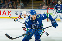 KELOWNA, BC - SEPTEMBER 29:  Brandon Sutter #20 of the Vancouver Canucks skates against the Arizona Coyotes at Prospera Place on September 29, 2018 in Kelowna, Canada. (Photo by Marissa Baecker/NHLI via Getty Images)  *** Local Caption *** Brandon Sutter;