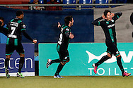 Onderwerp/Subject: FC Groningen - Eredivisie<br /> Reklame:  <br /> Club/Team/Country: <br /> Seizoen/Season: 2012/2013<br /> FOTO/PHOTO: David TEXEIRA ( Cesar David Texeira TORRES ) (R) of FC Groningen celebrating his goal with Stefano MAGNASCO ( Stefano Magnasco GALINDO ) (C) of FC Groningen and Leandro BACUNA (L) of FC Groningen ( 1 - 2 ). (Photo by PICS UNITED)<br /> <br /> Trefwoorden/Keywords: <br /> #02 $94 ±1355238911262<br /> Photo- & Copyrights © PICS UNITED <br /> P.O. Box 7164 - 5605 BE  EINDHOVEN (THE NETHERLANDS) <br /> Phone +31 (0)40 296 28 00 <br /> Fax +31 (0) 40 248 47 43 <br /> http://www.pics-united.com <br /> e-mail : sales@pics-united.com (If you would like to raise any issues regarding any aspects of products / service of PICS UNITED) or <br /> e-mail : sales@pics-united.com   <br /> <br /> ATTENTIE: <br /> Publicatie ook bij aanbieding door derden is slechts toegestaan na verkregen toestemming van Pics United. <br /> VOLLEDIGE NAAMSVERMELDING IS VERPLICHT! (© PICS UNITED/Naam Fotograaf, zie veld 4 van de bestandsinfo 'credits') <br /> ATTENTION:  <br /> © Pics United. Reproduction/publication of this photo by any parties is only permitted after authorisation is sought and obtained from  PICS UNITED- THE NETHERLANDS