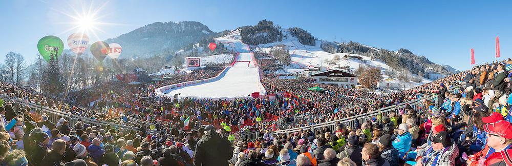 21.01.2017, Hahnenkamm, Kitzbühel, AUT, FIS Weltcup Ski Alpin, Kitzbuehel, Abfahrt, Herren, im Bild Panorama des Zielbereich // Overview of the finish area during the men's downhill of FIS Ski Alpine World Cup at the Hahnenkamm in Kitzbühel, Austria on 2017/01/21. EXPA Pictures © 2017, PhotoCredit: EXPA/ Serbastian Pucher