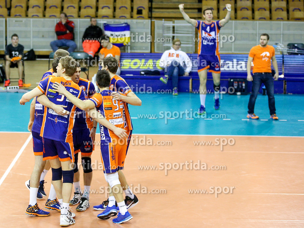 Players of ACH celebrate during volleyball match between ACH Volley Ljubljana and Posojilnica Aich - Dob in Semifinal of MEVZA Cup Men - Final Four, on March 11, 2016 in Hala Tivoli, Ljubljana, Slovenia. Photo by Morgan Kristan / Sportida