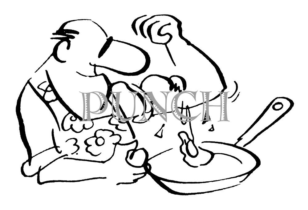 (Man frying eggs breaks them on his biceps)