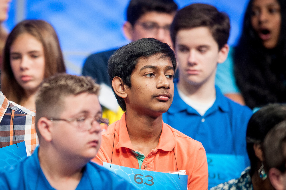 Eric Errampalli, 14, of Kankakee, Illinois, participates in round two of the preliminaries of the 2015 Scripps National Spelling Bee on May 27, 2015 at the Gaylord National Resort and Convention Center in National Harbor, Maryland.
