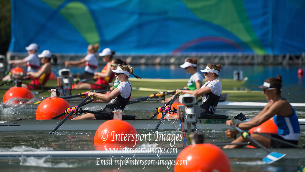 Rio de Janeiro. BRAZIL   NZL W2X Bow. Eve MACFARLANE and   Zoe STEVENSON,  2016 Olympic Rowing Regatta. Lagoa Stadium,<br /> Copacabana,  &ldquo;Olympic Summer Games&rdquo;<br /> Rodrigo de Freitas Lagoon, Lagoa. Local Time 10:11:01  Tuesday  09/08/2016<br /> [Mandatory Credit; Peter SPURRIER/Intersport Images]