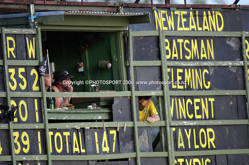 The Scoreboard at the 3rd Chappell Hadlee one day match at Seddon Park, Hamilton, New Zealand on Tuesday 20 February 2007. Photo: Andrew Cornaga/PHOTOSPORT<br /> <br /> <br /> 200207