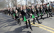 FAIRLESS HILLS, PA -  MARCH 15: Irish dancers from Fitzpatrick School of Irish Dancing perform during the St. Patrick's Day Parade March 15, 2014 in Fairless Hills, Pennsylvania.  (Photo by William Thomas Cain/Cain Images)