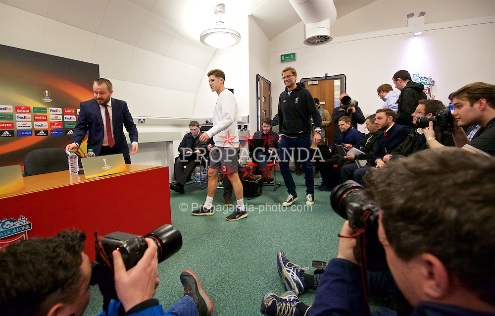 LIVERPOOL, ENGLAND - Wednesday, March 9, 2016: Liverpool's Adam Lallana and manager Jürgen Klopp arrive for a press conference at Melwood Training Ground ahead of the UEFA Europa League Round of 16 1st Leg match against Manchester United FC. (Pic by David Rawcliffe/Propaganda)
