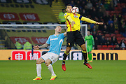 Burton Albion defender Kyle McFadzean (5) and Watford striker Troy Deeney (9) during the The FA Cup 3rd round match between Watford and Burton Albion at Vicarage Road, Watford, England on 7 January 2017. Photo by Richard Holmes.