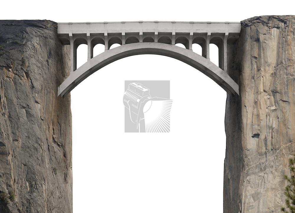 Bridge spanning two vertical cliffs on a white background