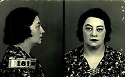Prostitutes And Madams: Mugshots From When Montreal Was Vice Central<br /> <br /> Montreal, Canada, 1949. Le Devoir publishes a series of articles decrying lax policing and the spread of organized crime in the city. Written by campaigning lawyer Pacifique 'Pax' Plante (1907 – 1976) and journalist Gérard Filion, the polemics vow to expose and root out corrupt officials.<br /> <br /> With Jean Drapeau, Plante takes part in the Caron Inquiry, which leads to the arrest of several police officers. Caron JA's Commission of Inquiry into Public Morality began on September 11, 1950, and ended on April 2, 1953, after holding 335 meetings and hearing from 373 witnesses. Several police officers are sent to prison.<br /> <br /> During the sessions, hundreds of documents are filed as evidence, including a large amount of photos of places and people related to vice.  photos of brothels, gambling dens and mugshots of people who ran them, often in cahoots with the cops – prostitutes, madams, pimps, racketeers and gamblers.<br /> <br /> Photo shows: Jeanine Lebrun, 1940 – arrested on April 11, 1940 for having run a house of prostitution.<br /> ©Archives de la Ville de Montréal/Exclusivepix Media