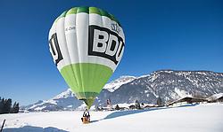 11.02.2015, Zell am See - Kaprun, AUT, BalloonAlps, im Bild ein Heisluftballon nach der Landung // BalloonAlps, The Alps Crossing Event balloonalps is Austria's international Winter balloon week in front of the backdrop of the Hohe Tauern, Zell am See Kaprun on 2015/02/11, . EXPA Pictures © 2014, PhotoCredit: EXPA/ JFK