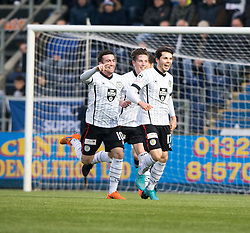 St Mirren's Lewis Morgan cele scoring their goal. half time : Falkirk 0 v 1 St Mirren, Scottish Championship game played 3/12/2016 at The Falkirk Stadium .