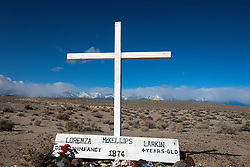 Cross and grave site of Larkin and Lorenza McKellips, outside of Death Valley National Park, California, United States of America