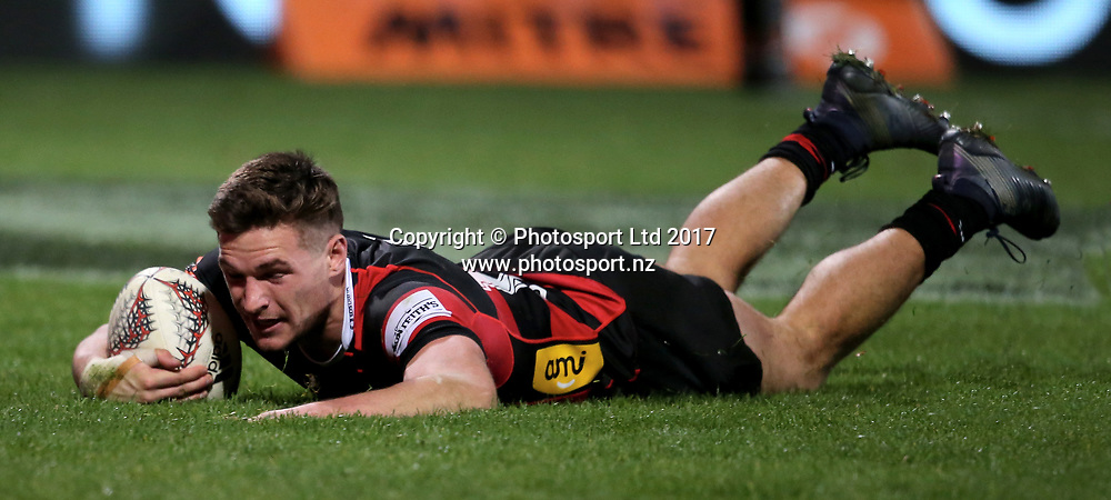 George Bridge of Canterbury. Ranfurly Shield and round four Mitre 10 Cup rugby match between Canterbury and Otago, AMI Stadium, Christchurch, New Zealand, 8th September 2017. Photo: Martin Hunter / www.photosport.co.nz