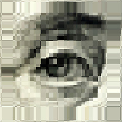 George Washington Eye on Dollar bill pixelated