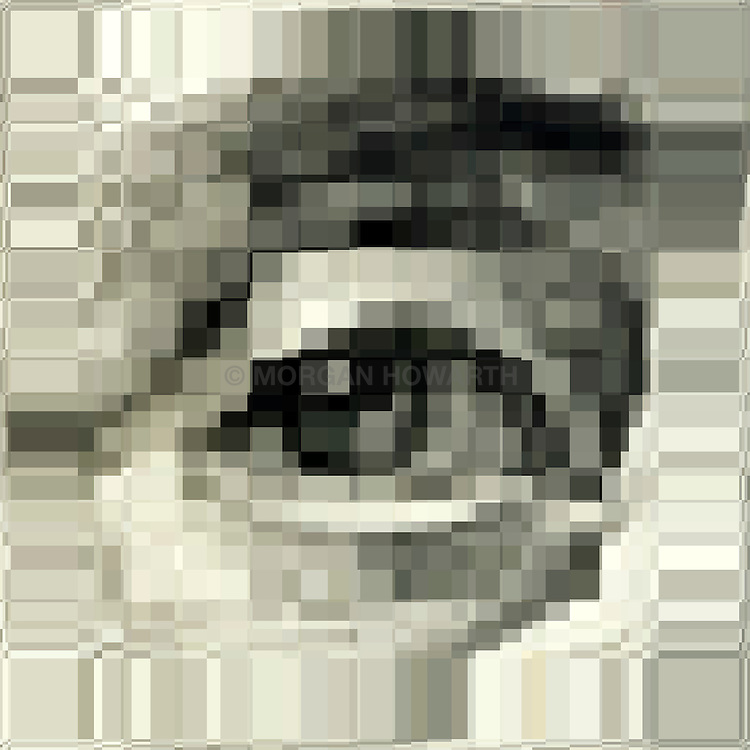 George Washington Eye on Dollar bill pixelated
