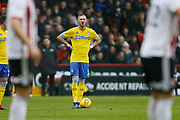 Leeds United defender Barry Douglas (3) prepares to take a free kick during the EFL Sky Bet Championship match between Sheffield United and Leeds United at Bramall Lane, Sheffield, England on 1 December 2018.