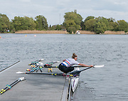 Brandenburg. GERMANY. GBR W1X Women's Single Sculls, Mathilda HODGKINS-BYRNE. locks her gate before a training session at the 2016 European Rowing Championships at the Regattastrecke Beetzsee<br /> <br /> Wednesday  04/05/2016<br /> <br /> [Mandatory Credit; Peter SPURRIER/Intersport-images]