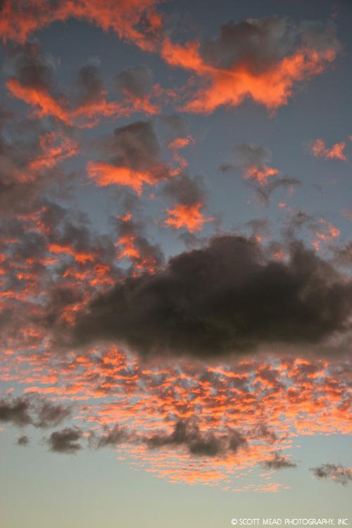 Orange clouds in a cobblestone pattern in the sky, Maui, Hawaii