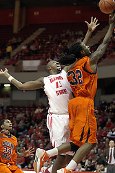 16 December 2012:  DeWayne Jackson gets inside of John Wilkins for a lay up during an NCAA men's basketball game between the Morgan State Bears and the Illinois State Redbirds (Missouri Valley Conference) in Redbird Arena, Normal IL