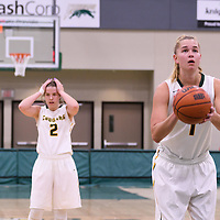 5th year forward Charlotte Kot (1) of the Regina Cougars in action during the Women's Basketball Preseason game on October 6 at Centre for Kinesiology, Health and Sport. Credit: Arthur Ward/Arthur Images