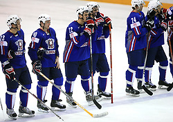 Slovenian team (Damjan Dervaric, Dejan Varl, Marcel Rodman, David Rodman, Anze Terlikar and Boris Pretnar) sad after ice-hockey game Slovenia vs Slovakia at second game in  Relegation  Round (group G) of IIHF WC 2008 in Halifax, on May 10, 2008 in Metro Center, Halifax, Nova Scotia, Canada. Slovakia won after penalty shots 4:3.  (Photo by Vid Ponikvar / Sportal Images)