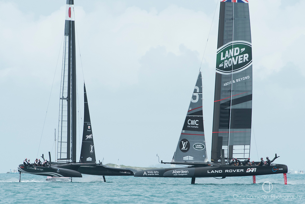 The Great Sound, Bermuda. 3rd June 2017. Soft Bank Team Japan and Land Rover BAR (GBR) race on the last day of the America's Cup Qualifiers.