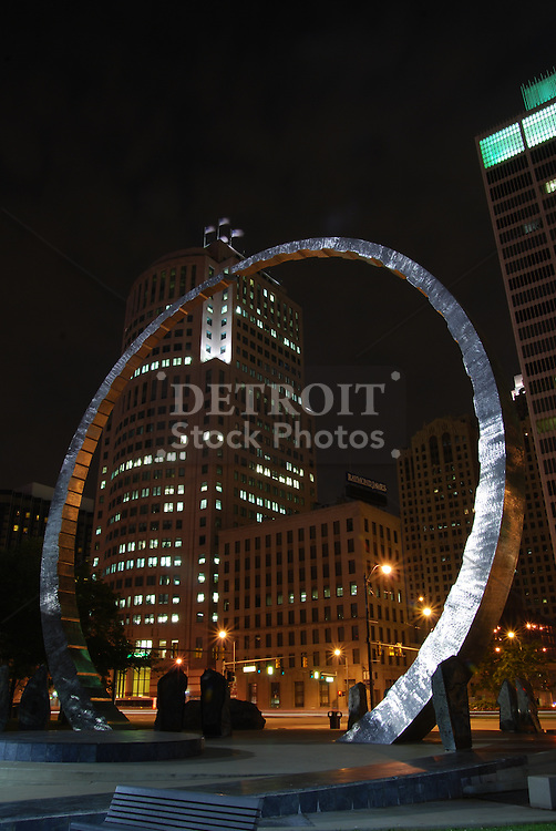 Michigan Labor Legacy Landmark - Downtown Detroit<br /> The 63-foot steel arch was a gift to Detroit from the labor movement, &quot;Transcending&quot; depicts labor history, workers' occupations and labor's vision for the future on a grand scale.