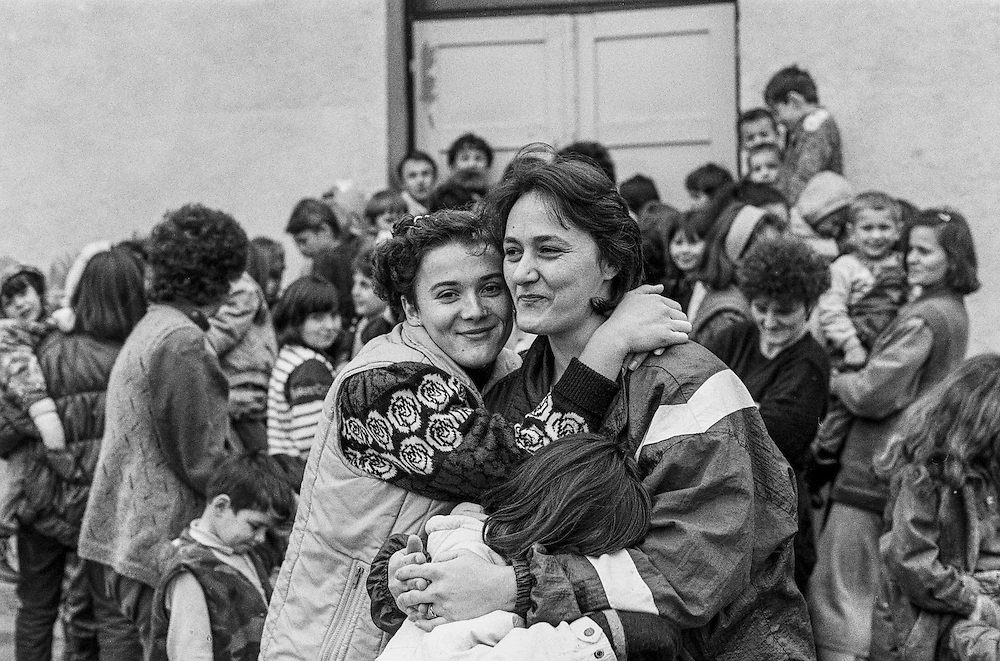 Residents at the Varazdin refugee camp in Croatia in the winter of 1992.