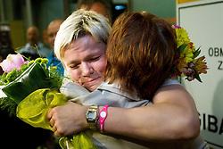 Urska Zolnir hugs her mother Majda during reception of Slovenian Olympic team, on August 5, 2012 in Airport Joze Pucnik, Brnik, Slovenia. (Photo by Vid Ponikvar / Sportida.com)