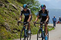 Edvald Boasson Hagen & Kanstantsin Siutsou on the top of the Col de la Joux Plane during stage 6 of the Criterium du Dauphine. Photo by Simon Parker/SPactionimages