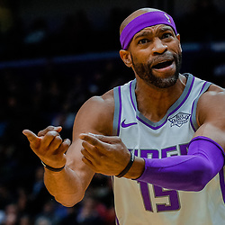 Jan 30, 2018; New Orleans, LA, USA; Sacramento Kings guard Vince Carter (15) against the New Orleans Pelicans during the second quarter at the Smoothie King Center. Mandatory Credit: Derick E. Hingle-USA TODAY Sports