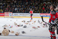 KELOWNA, CANADA - DECEMBER 6: Ryan Olsen #27 of the Kelowna Rockets celebrates the first goal against the Everett Silvertips setting off the annual teddy bear toss on December 6, 2013 at Prospera Place in Kelowna, British Columbia, Canada.   (Photo by Marissa Baecker/Shoot the Breeze)  ***  Local Caption  ***